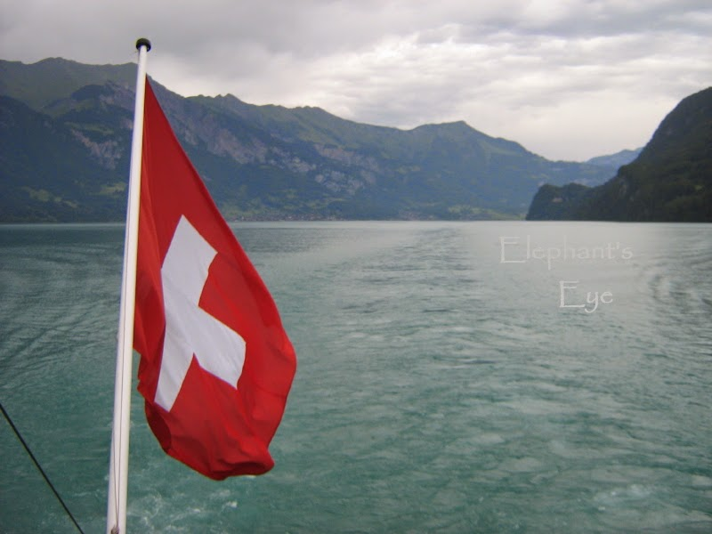 Swiss flag on our lake steamer