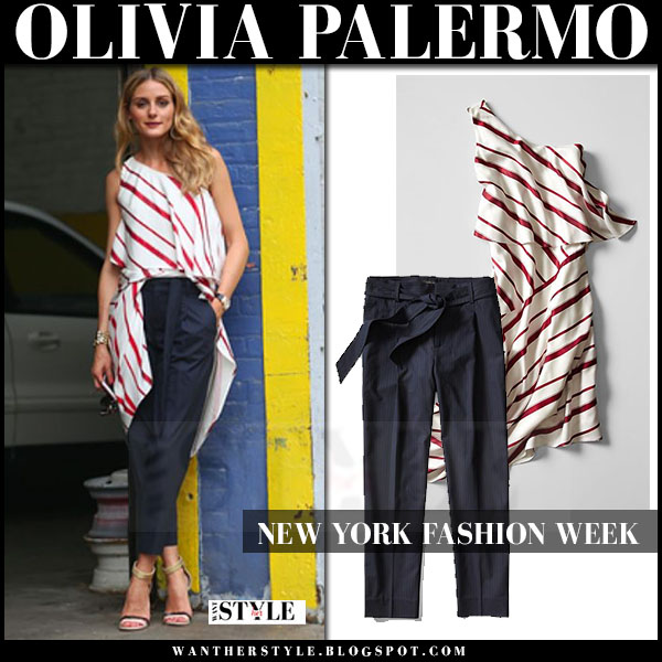 Olivia Palermo in white red stripe one shoulder long top and blue pants banana republic nyfw front row what she wore