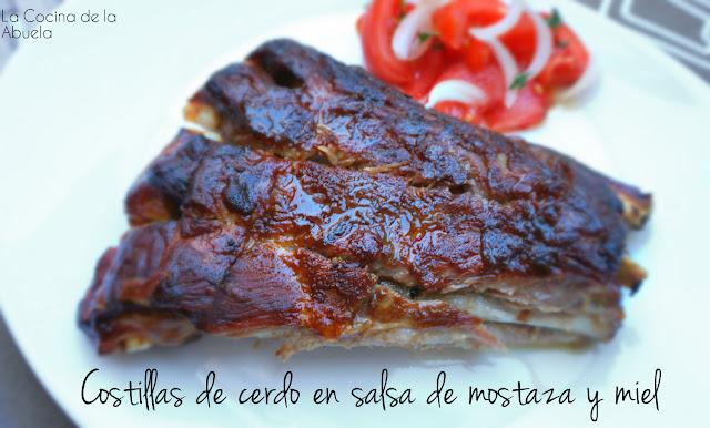 Costillas cerdo salsa mostaza miel receta horno asado presentación