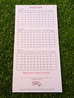 The scoring side of the Ninja Golf scorecard