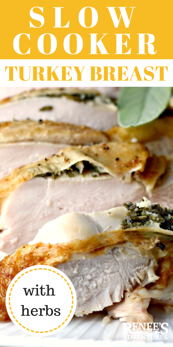 Slow Cooker Herbed Turkey Breast:  Perfect turkey breast EVERY. SINGLE. TIME!  Easy method for cooking moist and tender whole turkey breast roast! #turkey #slowcookerturkey