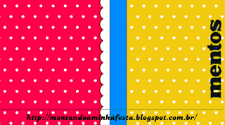 Red, Light Blue and Yellow Free Printable Mentos Labels.