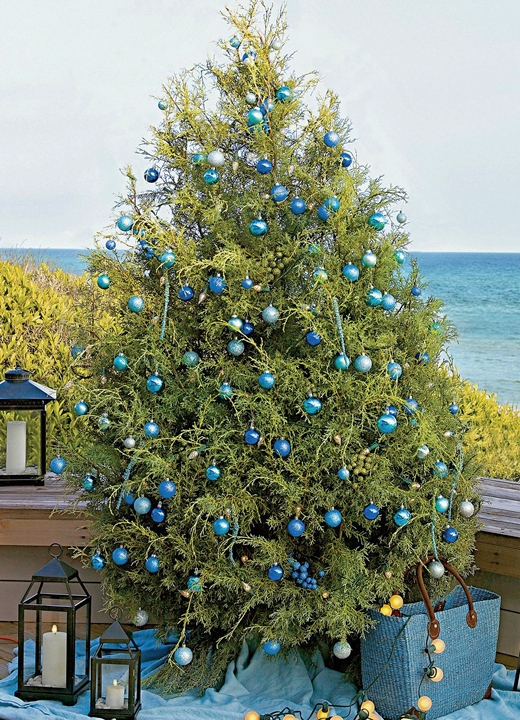 Christmas Tree with Blue Ball Ornaments