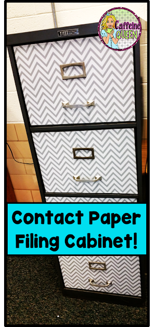 Contact Paper makeover for filing cabinet