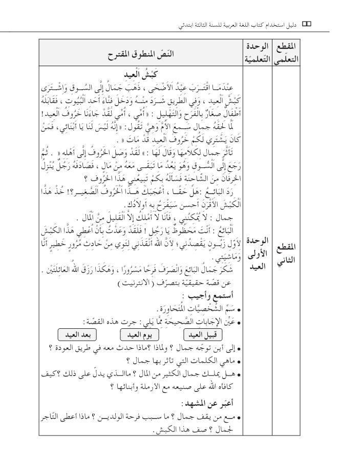 نص كبش العيد السنة الثالثة ابتدائي الجيل الثاني - فهم المنطوق