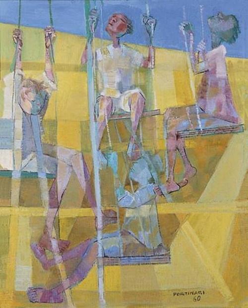 Meninos no balanço, pintura de Portinari.