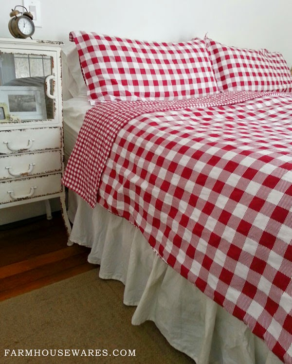 Red Checked Bedding Adds Bright Country