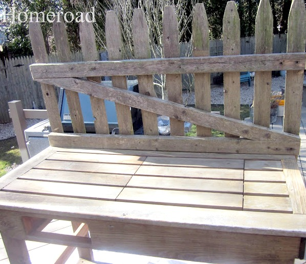 picket fence piece on back of table