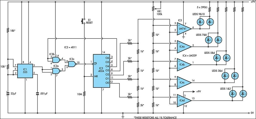 Lm339 Based Grand Prix Starting Lights Circuit