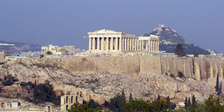 Athens is one European capital at greatest risk from both heat extremes and drought. (Image Credit: LennieZ, via Wikimedia Commons) Click to Enlarge.