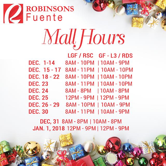 Mall Hours Robinson Fuente Cebu Christmas 2017