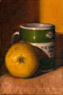 Oil painting of a lemon in front of a green and white Penguin Book coffee mug.