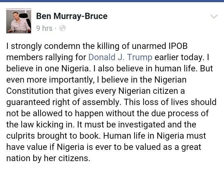 Ben Murray-Bruce condemns killing of Trump supporters by Nigerian Army