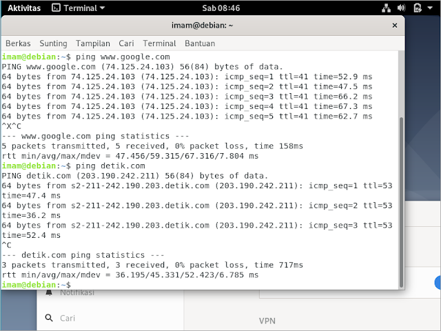 Test koneksi internet di PC client.