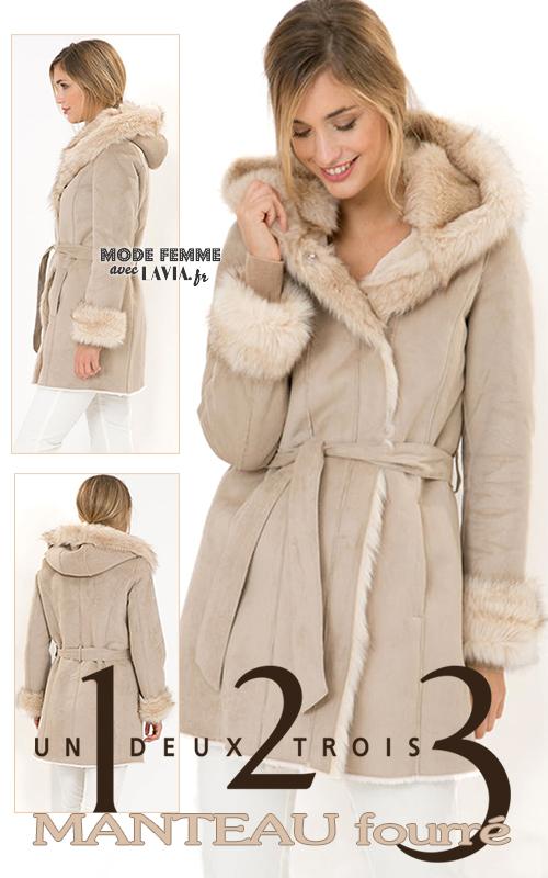 Manteau fourré beige à capuche 1.2.3