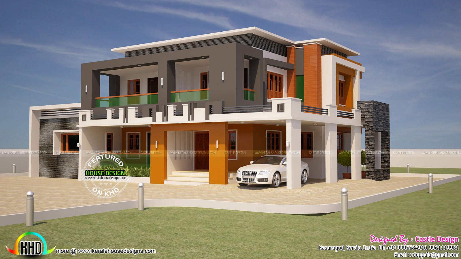 3201 square feet box type flat roof home kerala home for Flat roof elevation
