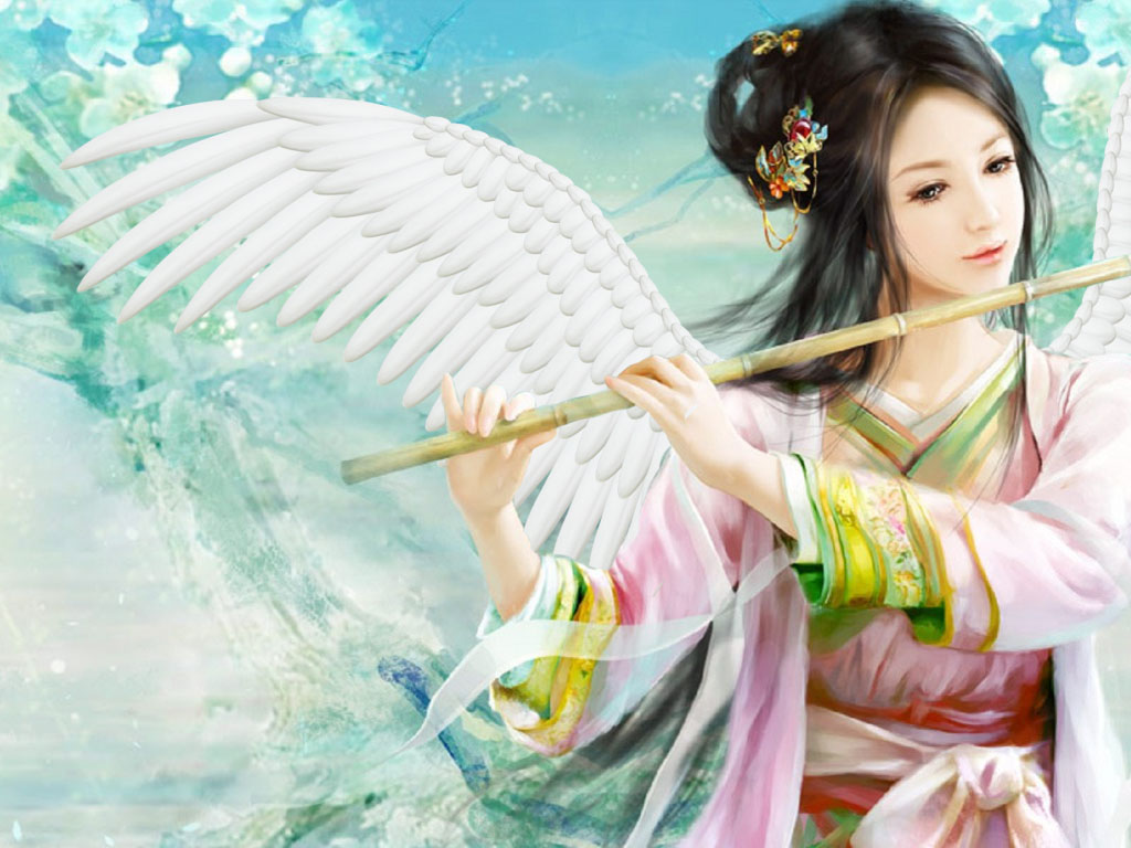 angel playing bamboo flute