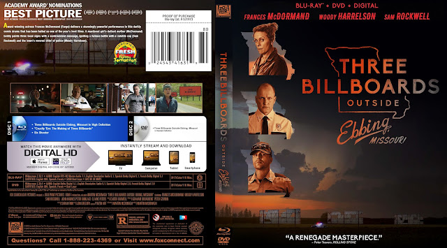 Three Billboards Outside Ebbing, Missouri Bluray Cover