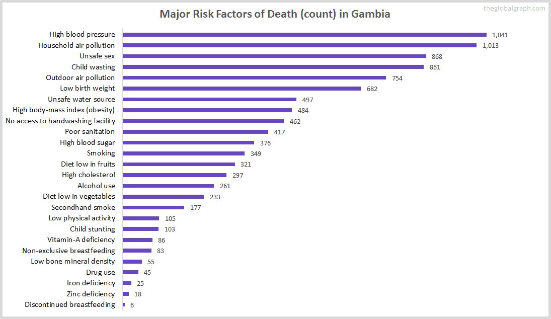 Major Cause of Deaths in Gambia (and it's count)