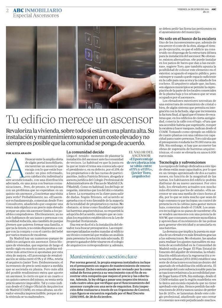 entrevista javier toro caviedes abc inmobiliario ascensores articulo