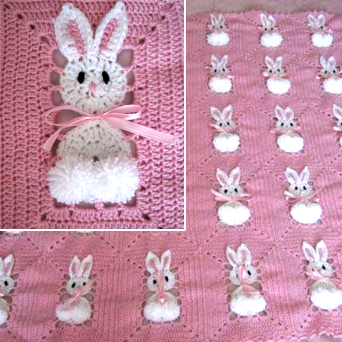 Free Crochet Patterns Childrens Blankets : Crochet For Children: Bunny Blanket - Free Crochet Diagram