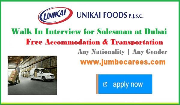 Recent van sales man job openings in Dubai UAE 2018, Van sales man job with salary and benefits,