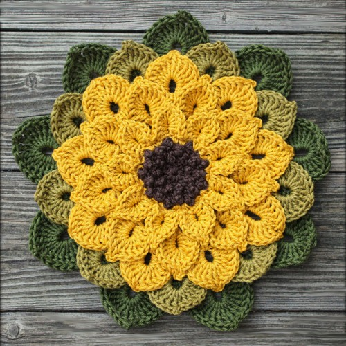 Sunflower Potholder - Free Pattern
