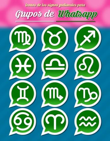 Iconos de los signos zodiacales para promocionar grupos de Whatsapp