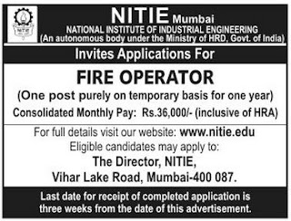 National Institute of Industrial Engineering (NITIE) (www.tngovernmentjobs.co.in)