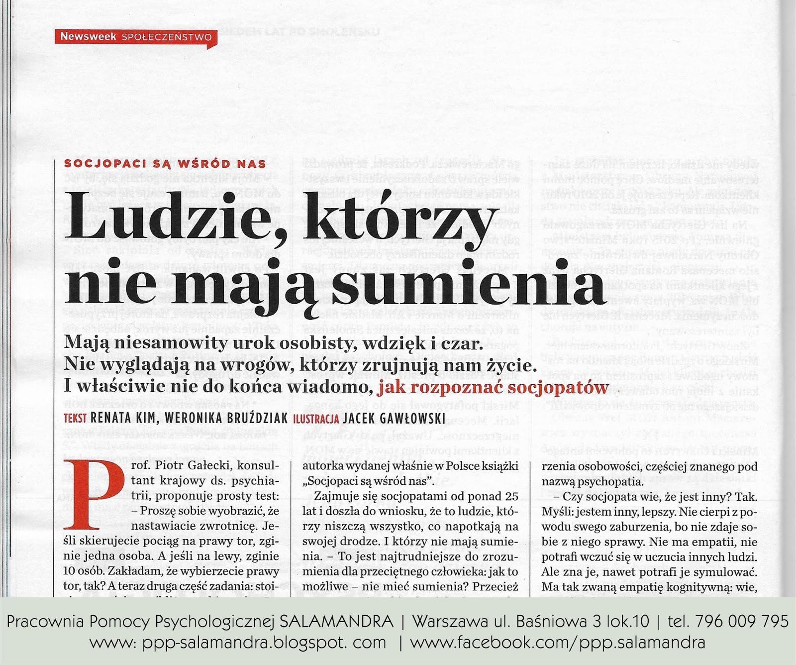 Dobry psycholog Warszawa wypowiada się o psychopatach dla tygodnika Newsweek