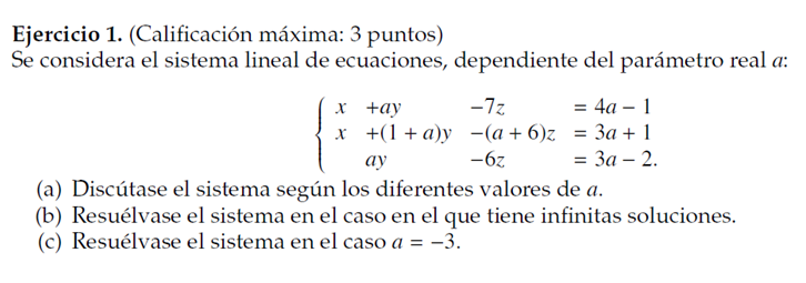 sistemas de ecuaciones matemáticas PAU