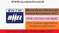 Bharat Heavy Electricals Limited Recruitment 2017– 789 Graduate Apprentices, Technician Apprentices