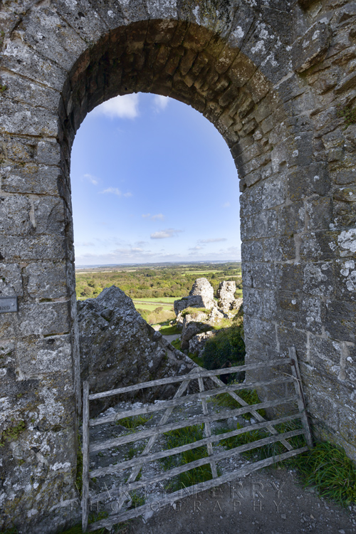Corfe Castle ruins in the Isle of Purbeck, Dorset
