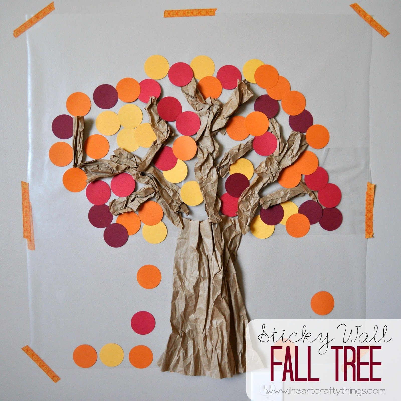 I Heart Crafty Things Contact Paper Sticky Wall Fall Tree
