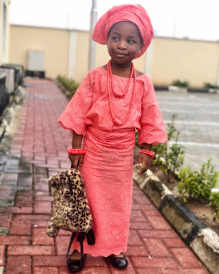 Davido's daughter Imade lovely in Iro and Buba