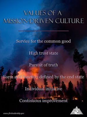 elements of a mission-driven culture: service for the common good, high trust state, pursuit of truth, form and function defined by the end state, individual initiative, and continuous improvement