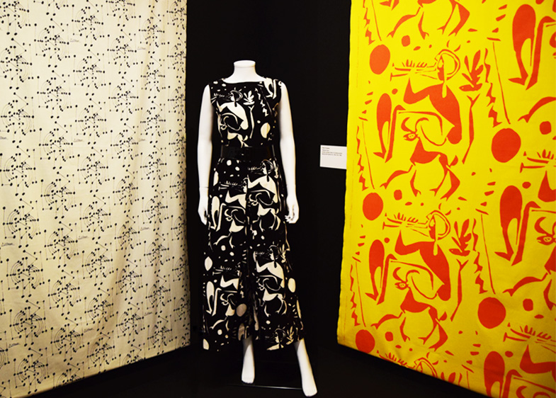 Artist Textiles Exhibition: Picasso to Warhol. Pablo Picasso monochromatic jumpsuit with textiles from the 1960s