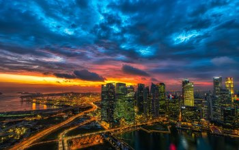 Wallpaper: Panoramic view with Singapore architecture