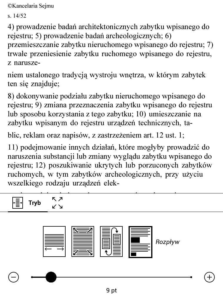 PocketBook Aqua 2 – przykład działania trybu reflow