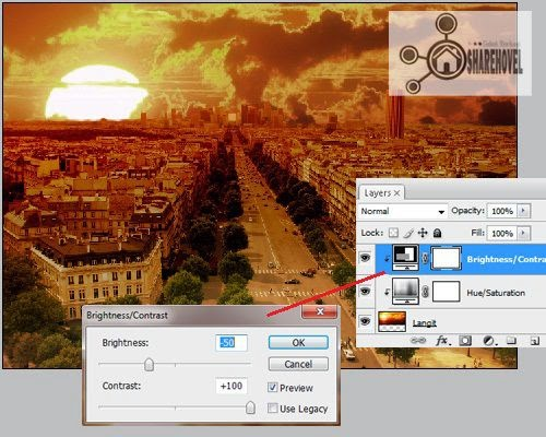 Buatah layer adjustment hue/saturation diatas layer gambar langit - trik cara membuat efek sunset di photoshop