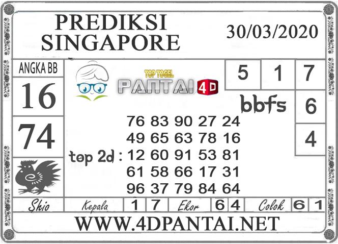 PREDIKSI TOGEL SINGAPORE PANTAI4D 30 MARET 2020