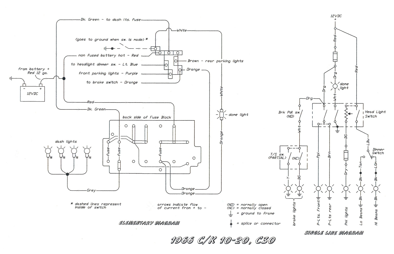 Free Auto Wiring Diagram: 1966 Chevrolet CK10,20 & C30 Truck Headlight Wiring
