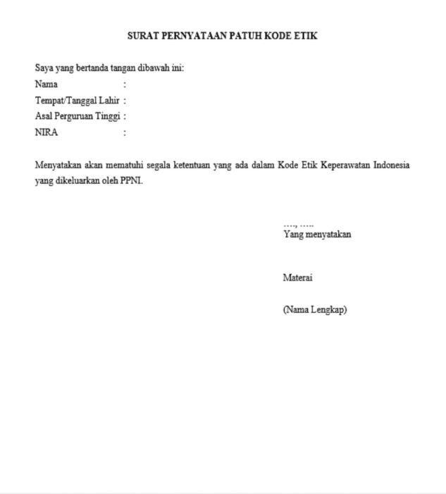 Contoh Surat Pernyataan Patuh Kode Etik Profesi