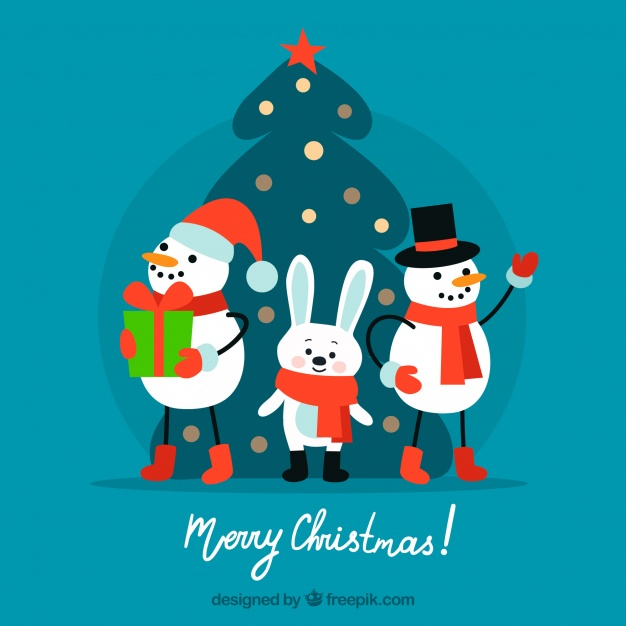 Merry christmas with snowman and rabbit Free Vector