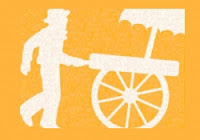 A white relief image with a yellow background showing a figure wearing a bucket hat who pushes a cart with a surface for goods under an umbrella that rolls on spoke wheels.