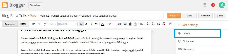 fungsi membuat label di blogger