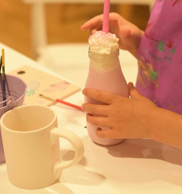 Milkshake at Emily's Paint a Pot in Next, Manchester Arndale