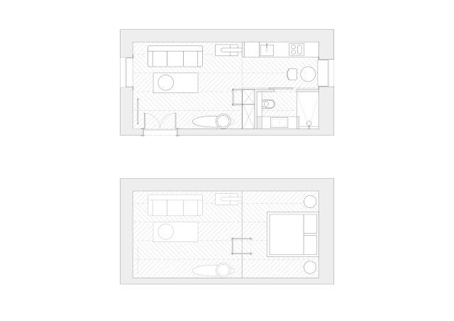plan pentru o garsoniera de 30 mp cu pat la inaltime