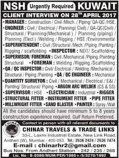 Latest job vacancies NSH Corporation Kuwait