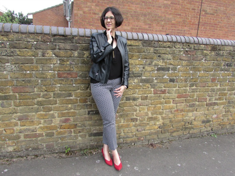 cigarette trousers and biker jacket